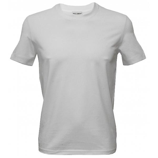 Dolce & Gabbana Pure Cotton Round Neck Girocollo T-Shirt, White