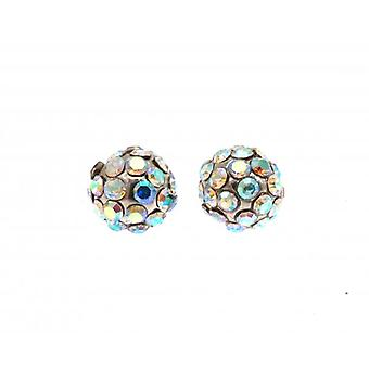 W.A.T Sparkling Clear AB Crystal Glitterball Crystal Earrings