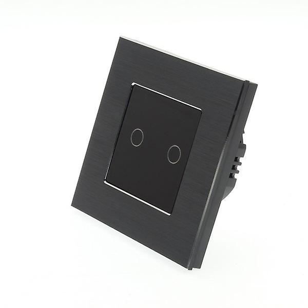 I LumoS noir Brushed Aluminium 2 Gang 1 Way WIFI 4G Remote & Dimmer Touch LED lumière Switch noir Insert