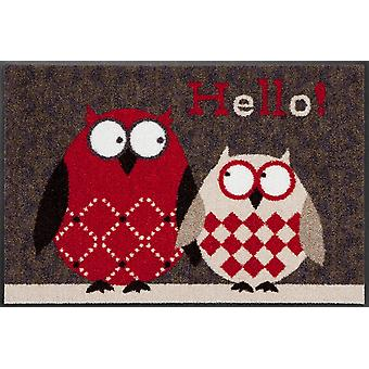 Owls Lars and Lotte 50 x 75 cm red washable floor mat