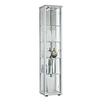 Silver Lockable Glass Display Cabinet with LED Lighting - 370mm