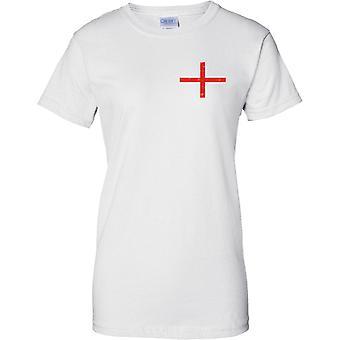 St Georges English bandera diseño apenado - diseño de pecho de las señoras camiseta