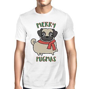 Merry Pugmas Pug Mens White Christmas T-Shirt Gift For Pug Owners