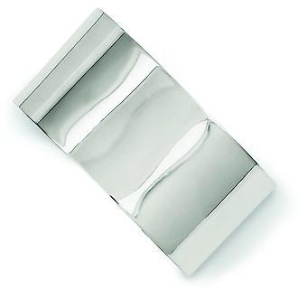 Sterling zilveren solide flexibele Engravable gepolijst terug 30 mm Fancy manchet Bangle Bracelet - 32,0 gram