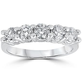 1ct Diamond Wedding vijf stenen Ring 14k witgoud