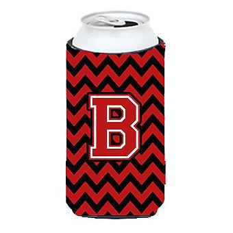 Letter B Chevron Black and Red   Tall Boy Beverage Insulator Hugger