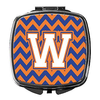 Letter W Chevron Blue and Orange #3 Compact Mirror