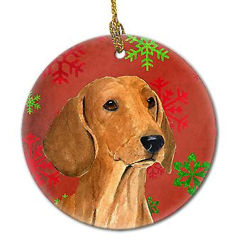 Dachshund Red Snowflakes Holiday Christmas Ceramic Ornament SS4694