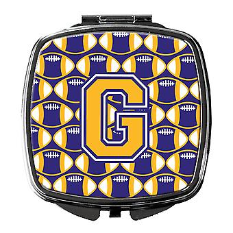 Letter G Football Purple and Gold Compact Mirror