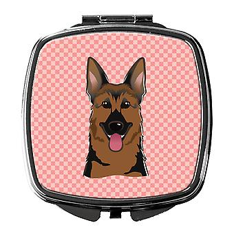Carolines Treasures  BB1211SCM Checkerboard Pink German Shepherd Compact Mirror