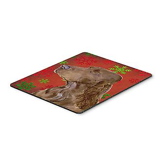 Field Spaniel Red and Green Snowflakes Christmas Mouse Pad, Hot Pad or Trivet