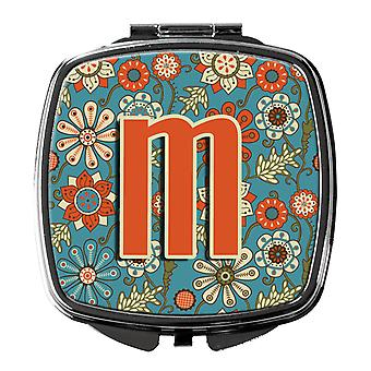 Carolines Treasures  CJ2012-MSCM Letter M Flowers Retro Blue Compact Mirror