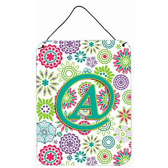 Letter A Flowers Pink Teal Green Initial Wall or Door Hanging Prints