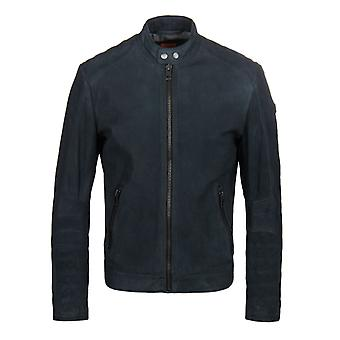 BOSS Orange Jondrix Navy Suede Moto Jacket