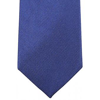 Knightsbridge Neckwear Plain Diagonal Ribbed Tie - Deep Blue