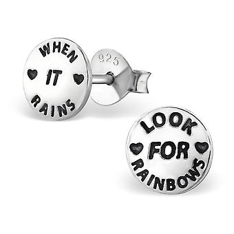 Look For Rainbows And Stars - 925 Sterling Silver Plain Ear Studs - W29006x