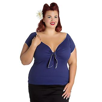 Hell Bunny Navy Bardot Top 3XL