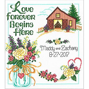 Country Wedding Counted Cross Stitch Kit-10.5