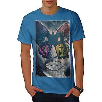 Farfalla faccia moda uomini Royal BlueT-camicia | Wellcoda