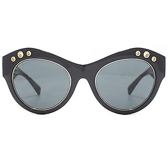 Versace Rock Ring Cateye Sunglasses In Black