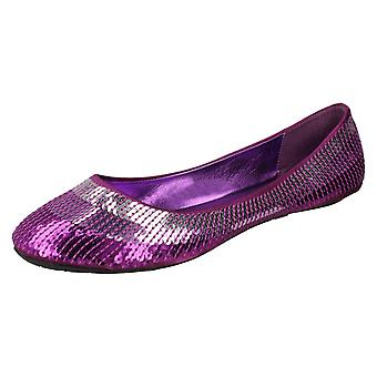 Ladies Spot On Flat Sequined Ballerina