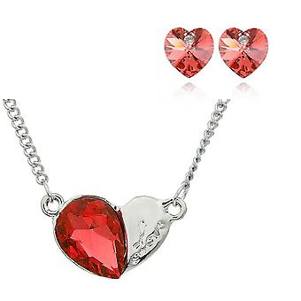 Womens Orange Heart Jewellery Necklace and Earrings Set