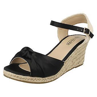 Ladies Spot On Twist Bow Wedge Sandals F2269