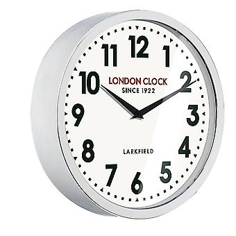 London Clock 1922 30cm Sterling Modern Chrome Metal Wall Clock