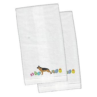 German Shepherd Easter White Embroidered Plush Hand Towel Set of 2