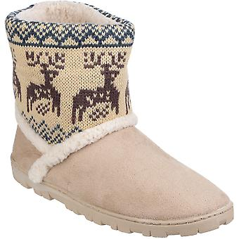 Divaz Womens/Ladies Denmark Faux Suede Pull on Bootie Slippers