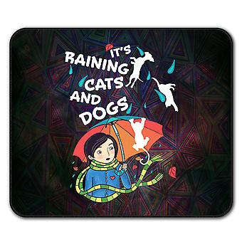 Raining Cats Dogs Funny  Non-Slip Mouse Mat Pad 24cm x 20cm | Wellcoda