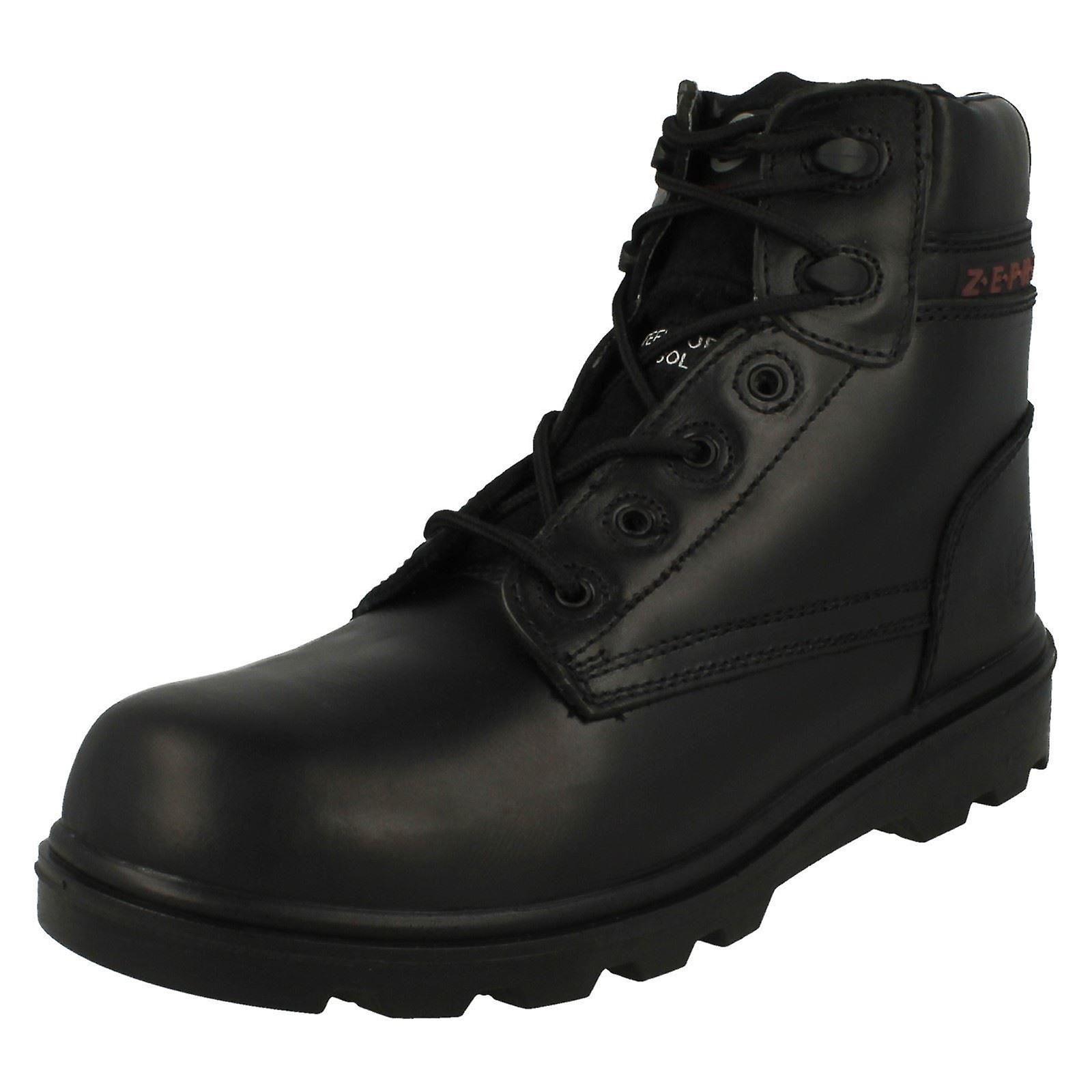 Mens Z.E.P.H.Y.R Steel Toe Safety Work Boot ZX17 - Black Leather - UK Size 9 - EU Size 43 - US Size 10