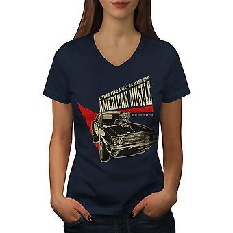 American Muscle Frauen NavyV-Neck T-shirt   Wellcoda
