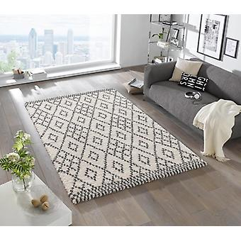 Design cut pile carpet deep pile of chess cream grey