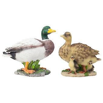 Realistic Life-size Duck Family - Mallard and Duck with Ducklings Garden Ornaments