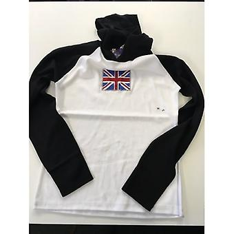 Union Jack Wear Ladies Hooded Top Sparkle Union Jack Long Sleeve