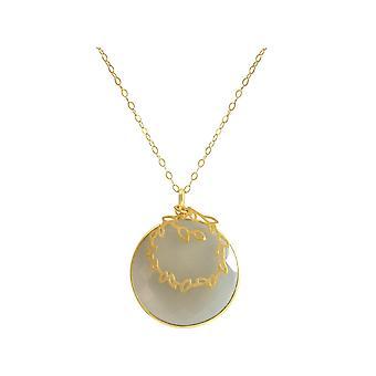 Gemshine - mujeres - collar plateado oro - plata 925 - caramelo - 80 cm - gris Moonstone--