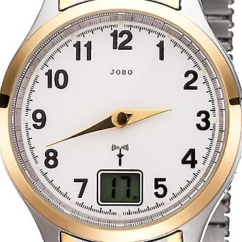 JOBO ladies wristwatch radio radio clock bicolor stainless steel cable gold plated date