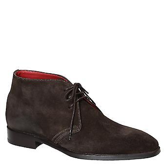 Dark brown suede leather men's chukka boots