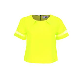 Ladies Mesh Panel Short Sleeve Party Women's Textured Neon Top and Shorts