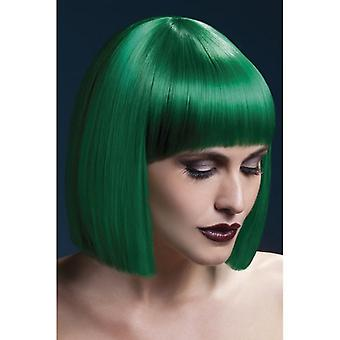 "Smiffy's Fever Lola Wig Green, Blunt Cut Bob With Fringe (12"", 30cm)"