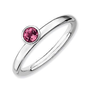 Sterling Silber Lünette poliert rhodiniert stapelbar Ausdrücke hoch 4 mm Runde rosa Tourm. Ring - Ring-Größe: 5 bis 10