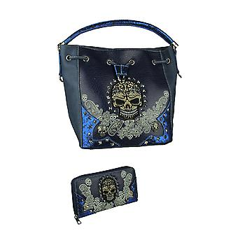 Tattooed Skulls and Paisley Sequins Bucket Purse and Wallet Set