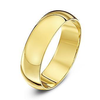 Star anneaux de mariage 18 carats jaune or D Extra lourd 6mm bague de mariage