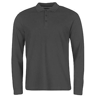 Pierre Cardin Mens Plain Long Sleeve Polo Shirt Top Cotton Regular Fit Fold Over