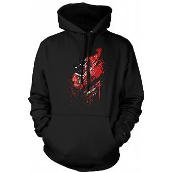 Womens Hoodie - Zombie Walking Dead Ribs And Heart Ripped Design