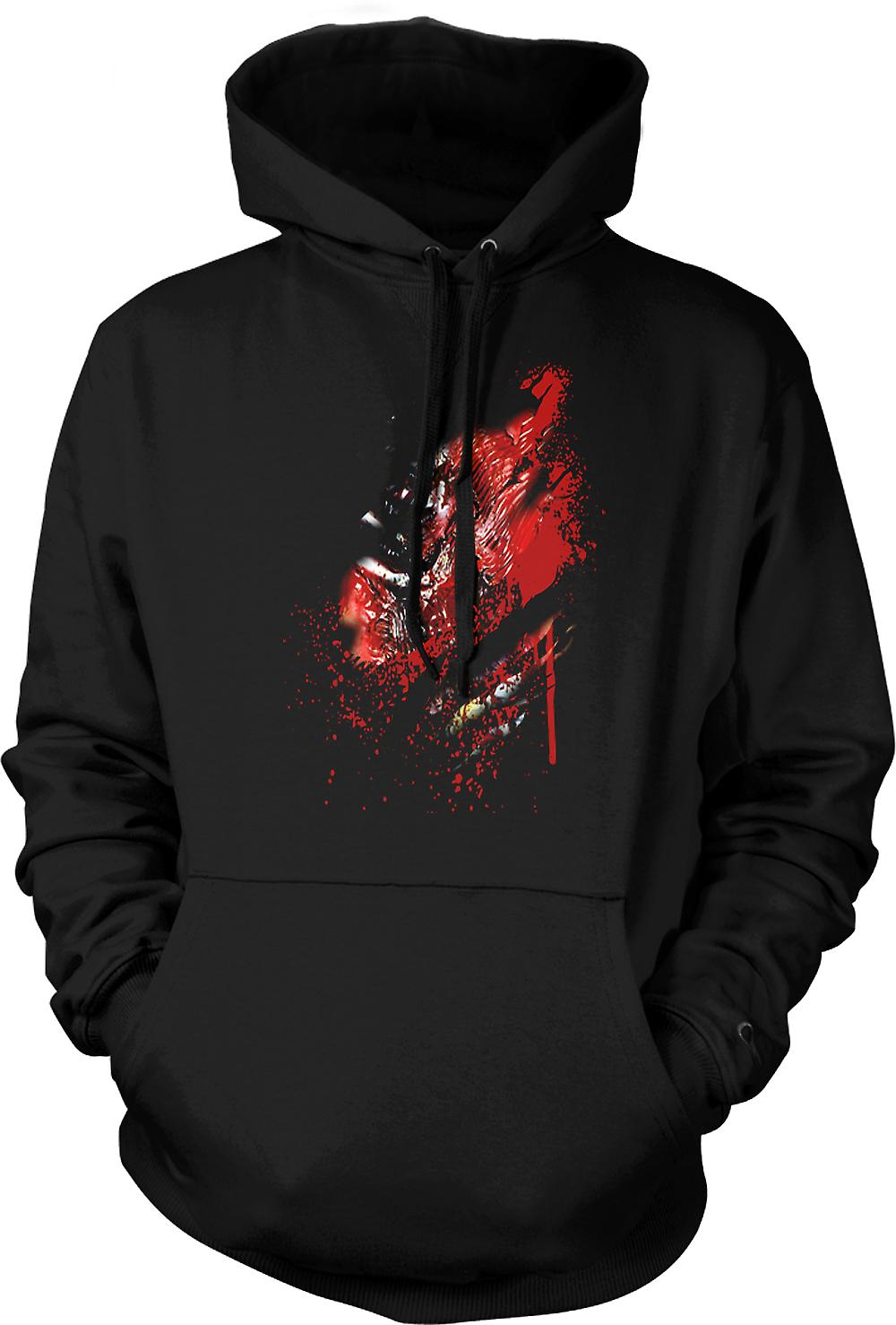 Mens Hoodie - Zombie Walking Dead Ribs And Heart Ripped Design
