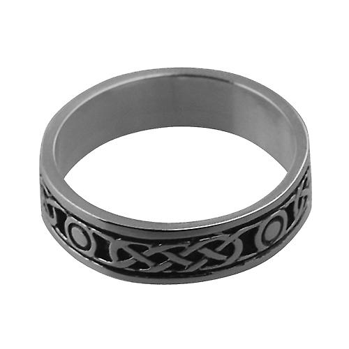 Silver oxidized 6mm Celtic Wedding Ring Size V
