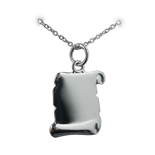 Silver 17x14mm plain Scroll Pendant with Rolo chain