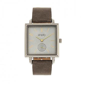 Simplify The 5000 Leather-Band Watch - Charcoal/Grey